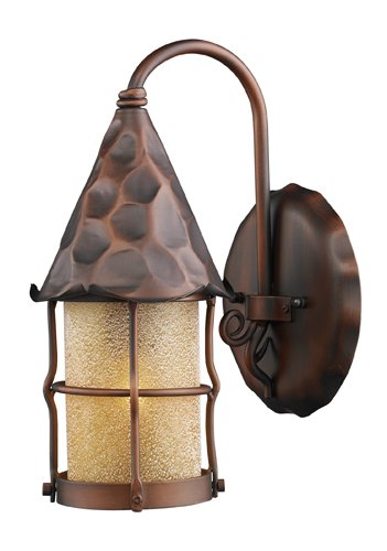 ELK 381-AC, Rustica Outdoor Wall Sconce Lighting, Antique Copper Antique White Scavo Cylinder
