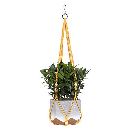 Macrame Hanging Planter for Pot Outdoor and Indoor Decor Cotton Rope Hanger Plaited by Hand-Made