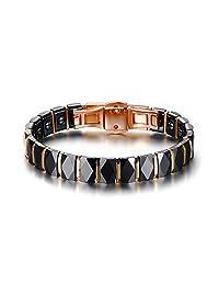 Classic High-end Black Ceramic Diamond Cut Gloss Chain Bracelets with Hematite,Rose Gold