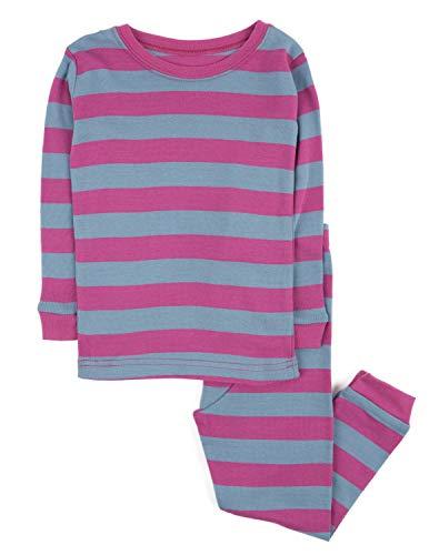 Leveret Striped Kids & Toddler Girls Pajamas 2 Piece Pjs Set 100% Cotton (5 Toddler, Purple & Denim) -