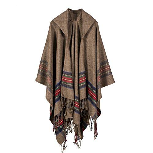 Sainfee Women's Tassel Cashmere-like Hooded Shawl Cardigans Warm Long Cloak (Khaki)