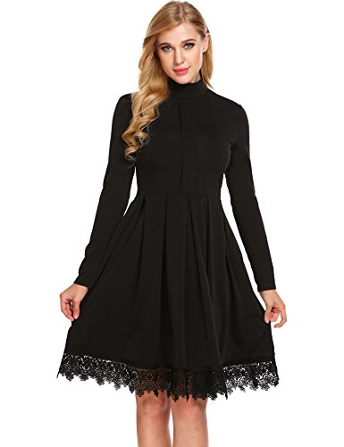 GEESENSS Women's Vintage Mock Turtle Neck Long Sleeve Lacy Pleated Tea Party Swing Dress - Lace Trimmed Turtleneck
