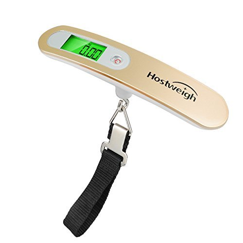 Digital Luggage Hanging Scale Portable Travel (110lb/50kg)With Battery (champagne gold)