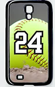 Softball Sports Fan Player Number 24 Decorative Black Rubber Samsung Galaxy S4 Case by supermalls