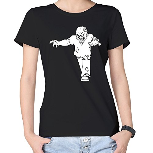 100% Cotton Women's Halloween Terrifying Old Zombie T-shirt Black