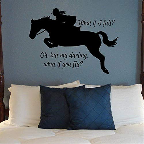 What if I Fall? Oh, but My Darling, What if You Fly? Quote Hunter Jumper Sticker I Love Horses Teen Girl Bedroom Decor English Dressage Equestrian Wall Art Faithful Saying Motivational Wall Words