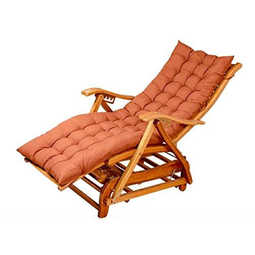 Folding Rocking Chair Deck Chair Recliner Chair Bamboo Chair Backrest Armchair Balcony Garden Sun Lounger Home Office Nap Chair Pregnant Woman Recliner (Color : Color4, Design : B+Cushion)