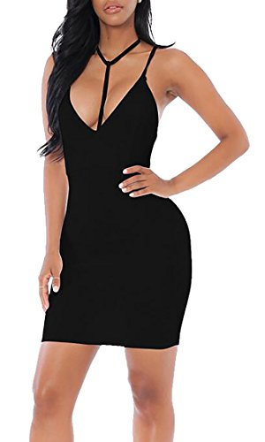 Dress Sexy Womens Spaghetti Mini Neck Bodycon V Black Jaycargogo Strap O85Pwq5