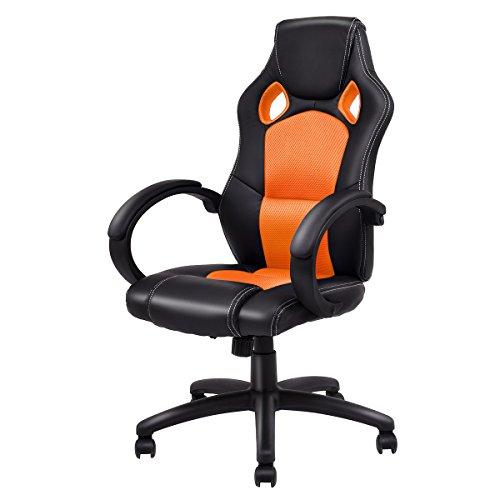 Giantex Gaming Chair Racing Chair High Back Bucket Seat Swivel Executive Office Computer Task Desk Gaming Chair (Orange) by Giantex