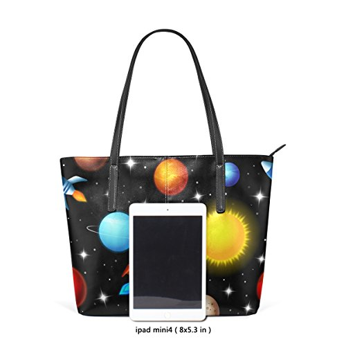 Rocket Women Printing Handbag Leather Space Tote for Bennigiry Pu Shoulder SqxURg1w5