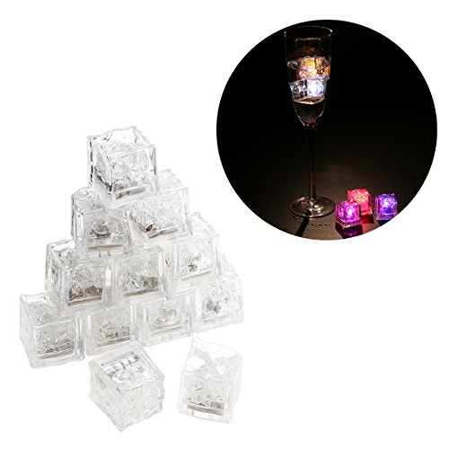 LEDMOMO 12pcs Multi-Color Ice Cubes Flashing Light Liquid Sensor LED for Drinking Wine Wedding Party Decoration (Random (Glow In Dark Ice Cubes)