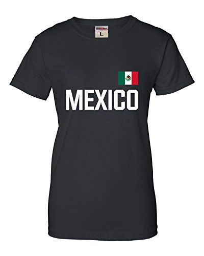 Go All Out Large Black Womens Mexico Soccer Futbol Jersey Style T-Shirt