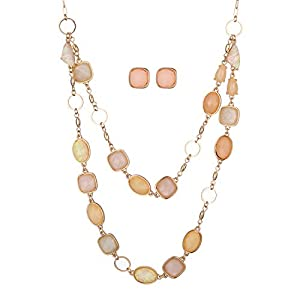 Best Epic Trends 415chFGyEtL._SS300_ Jones New York Gold Baby Pink Peach Oblong Gemstones Necklace and Earrings Set