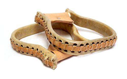 mroyalsaddles.com Western Saddle Leather Rawhide Covered Steel Oxbow - Leather Stirrups Steel