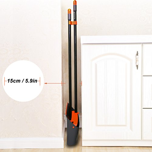 """TreeLen Broom and Dustpan / Dustpan with Broom Combo with 52"""" Long Handle for Home Kitchen Room Office Lobby Floor Use Upright Stand Up Dustpan and Broom Set"""