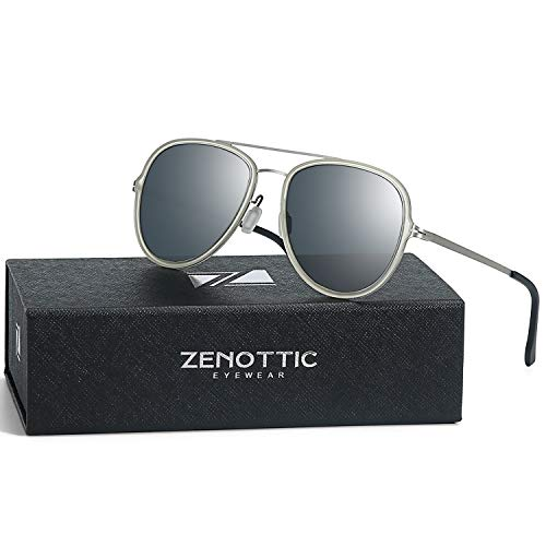 ZENOTTIC Unisex Aviator Polarized Sunglasses Ultra Lightweight Metal Frame for Small Face Double Bridge 100% UV ()