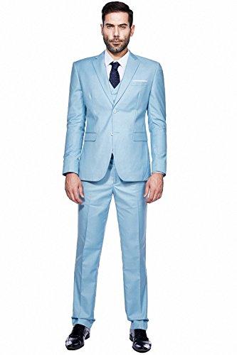 WEEN CHARM Mens Suits 2 Button Slim Fit 3 Pieces Suit Light Blue