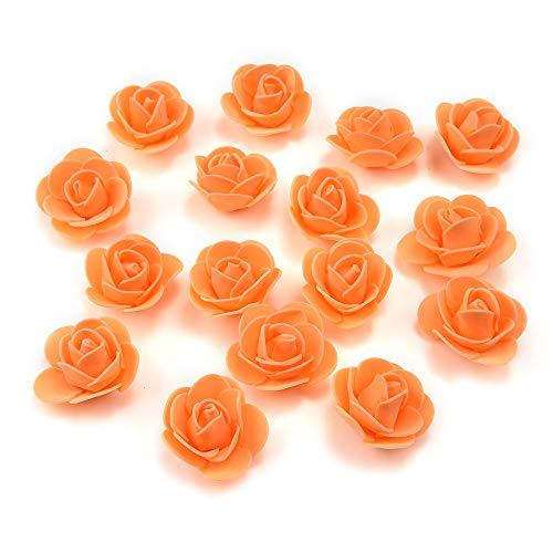 Fake Flower 50 pcs PE Foam Roses Head Artificial Flowers Wedding Decoration DIY Party Festival Home Decor Scrapbooking Gift Box DIY Wreath (Orange) (Are Color Plum Blossoms What)