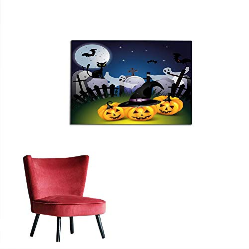 kungfu Decoration Wall Paper Halloween,Funny Cartoon Design with Pumpkins Witches Hat Ghosts Graveyard Full Moon Cat,Multicolor Funny Poster W27.5 x L19.7