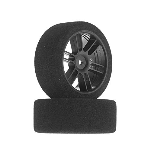 Johns Bsr Racing 1/10 30mm Nitro Touring Foam Tires, Mounted, 38 Rear, Black Wheels (2), BXRF3038B