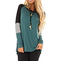 Allimy Women Casual Shirts Color Block Long Sleeve Tops Blouses