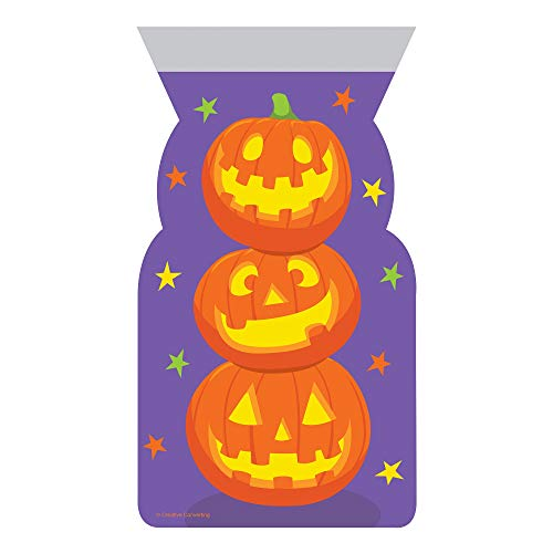 Pack of 240 Purple and Orange Stacked Pumpkins Cello Party Favor Loot Bags 12.25