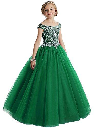 HuaMei Girls Princess Tulle Beaded Straps Ball Gowns Flower Girl Pageant Dresses 4 US Dark (Straps Girls Dress)