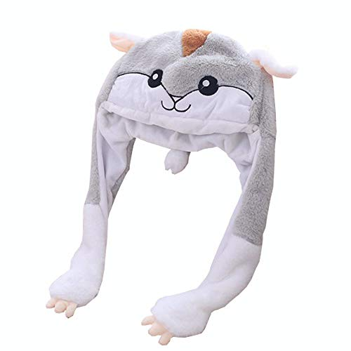 yqtyqs Hamster Hat Animal Cap Movable Ears Party Halloween