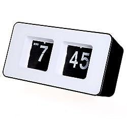 FunnyToday365 Cofa Retro Auto Flip Square Shape Clock Modern Lcd Digital Wall Clock Table Desktop Alarm Clock
