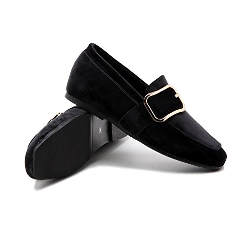 Toe Closed Imitated Low Pull Suede Black Heels Shoes Solid 40 WeiPoot Women's Pumps On H5qaXYqw