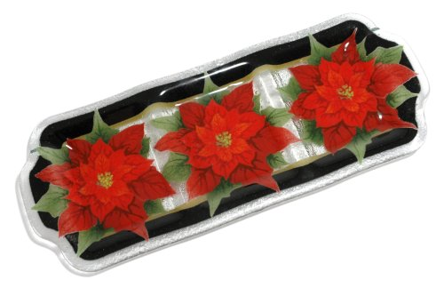 Peggy Karr Handcrafted Art Glass Red Poinsettia 3-section Divided Serving Tray, Rectangular, 20-Inch