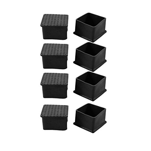 uxcell 8pcs 44x44mm Black PVC Rubber Square Cabinet Chair Leg Insert Floor Cover Protector by uxcell