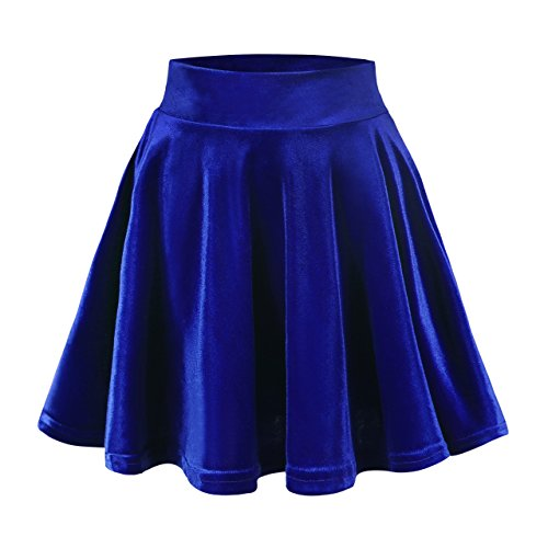 Urban CoCo Women's Vintage Velvet Stretchy Mini Flared Skater Skirt (M, Royal blue)