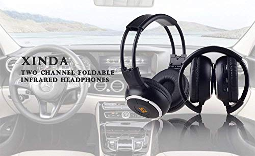 Car Headphone(One Year Warranty),Updated XINDA 2 Packs Double Channel Wireless Infrared Car Headset Foldable Vechile IR Headphones for in-Car TV DVD Video