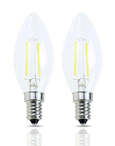 Lamsky E14 European Screw Base LED Filament C35 Shape Bullet Top,2W Daylight 6000k, 20-Watt Incandescent Equivalent, No-Dimmable (2-Pack)