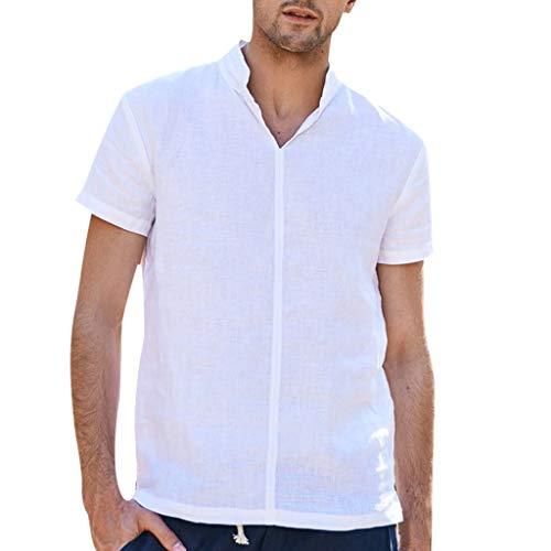 Sharemen Men's Button Pure Cotton Hemp Top Short Sleeve Summer Casual Comfortable Blouse Tops(White,2XL)