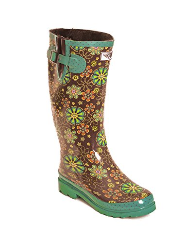 Womens Warm Faux Fur Lined Rubber Rain Boots Night Bloom 0HQX2unYR3