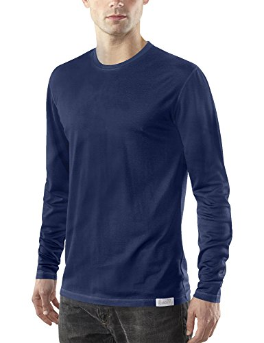 - Woolly Clothing Men's Merino Wool Crew Neck Long Sleeve Shirt - Everyday Weight - Wicking Breathable Anti-Odor M NVY