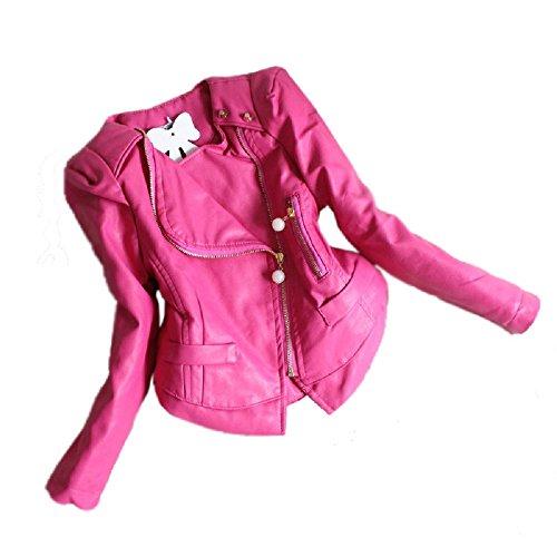Baby Girls Rivets and Ruffle Chiffon Faux Leather Motor Jackets