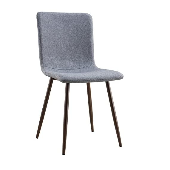 Poly and Bark Wadsworth Dining Chair with Walnut Legs, Set of 4, Gray - Durable Fabric Material. Wood look Metal Legs Slightly curved back. Mid back height Available in multiple colors - kitchen-dining-room-furniture, kitchen-dining-room, kitchen-dining-room-chairs - 415cjy7zNeL. SS570  -