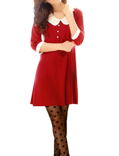 [Allegra K Women Sweet Layered Tiered Crochet Doll Collar 3/4 Sleeve Shift Dress, XS, Red] (Willy Wonka Costume)