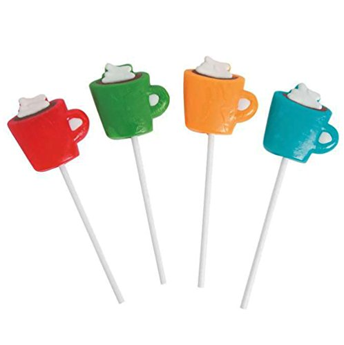 Hot Cocoa Lollipops - Tasty Winter Treats - Cute - Looks Like Mini Cup - Great For Buffets, Party, (Hot Chocolate Party Favor)