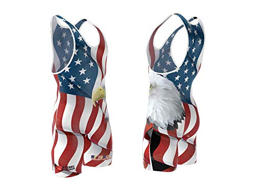 4-Time All American USA White Sublimated Wrestling Singlet Size 2XL ()