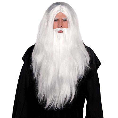 Long Grey Old Man Wig /& Beard Wizard Prophet Fancy Dress