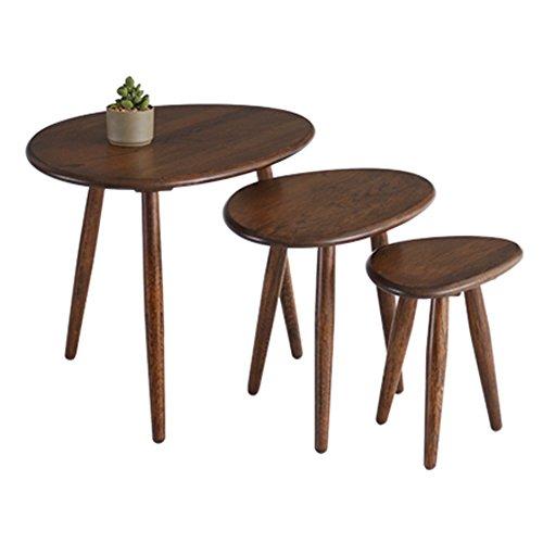 Oak Oval Magazine Rack - D&L Waterproof Side table, Oval Sofa table Bedroom Night table Creativity Coffee table Modern Vintage Telephone table-A