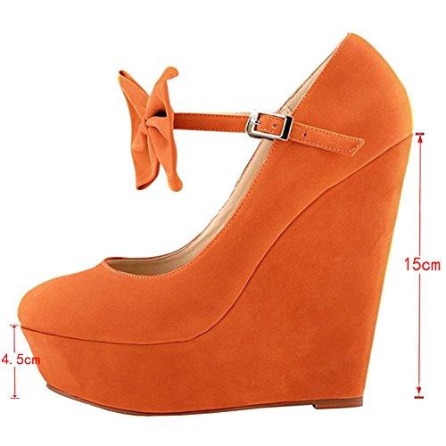 EKS Women's Fimc Cute Bow Buckle Solid Color Wedge High Heel Pumps Orange-Suede zLBNEW0H