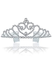Bling Jewelry Rhinestone Crystal Bridal Tiara Heart Crown Silver Plated