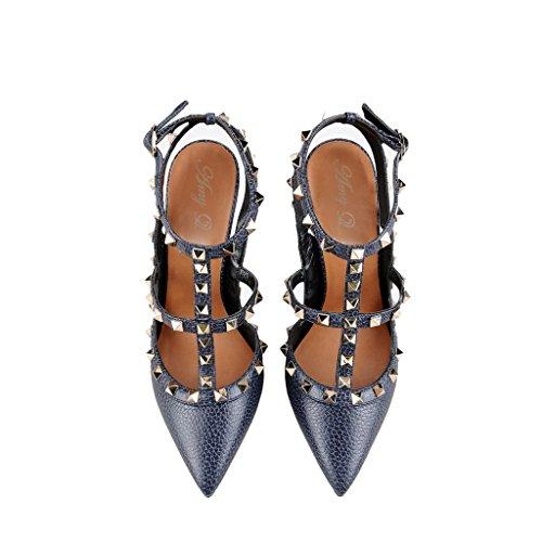 Amy Q - Zapatos con correa de tobillo mujer Azul
