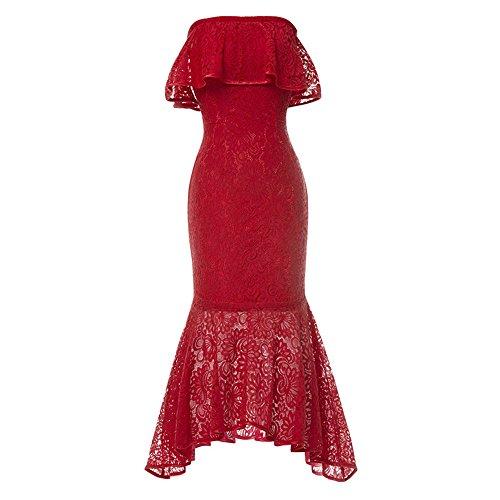 Dark Navy Lace Cocktail Dress Off The Shoulder Elegant Formal Party Dress Red 12 ()