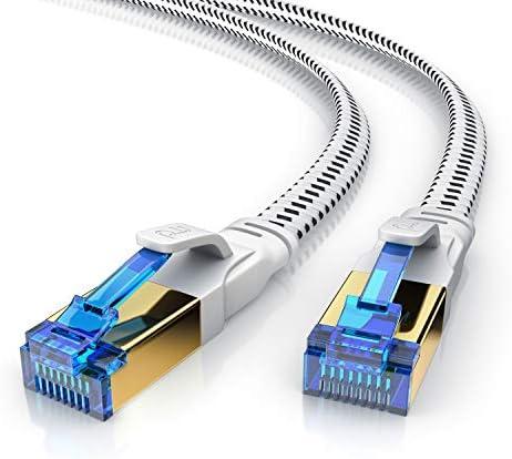 CSL – 3m CAT.8 Netzwerkkabel Flach 40 Gbits – Baumwollmantel – LAN Kabel Patchkabel Datenkabel – CAT 8 Gigabit RJ45 Ethernet Cable – 40000 Mbits Geschwindigkeit – Flachbandkabel – Verlegekabel